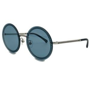 CHANEL 4245 Chain Blue Round Tinted Sunglasses